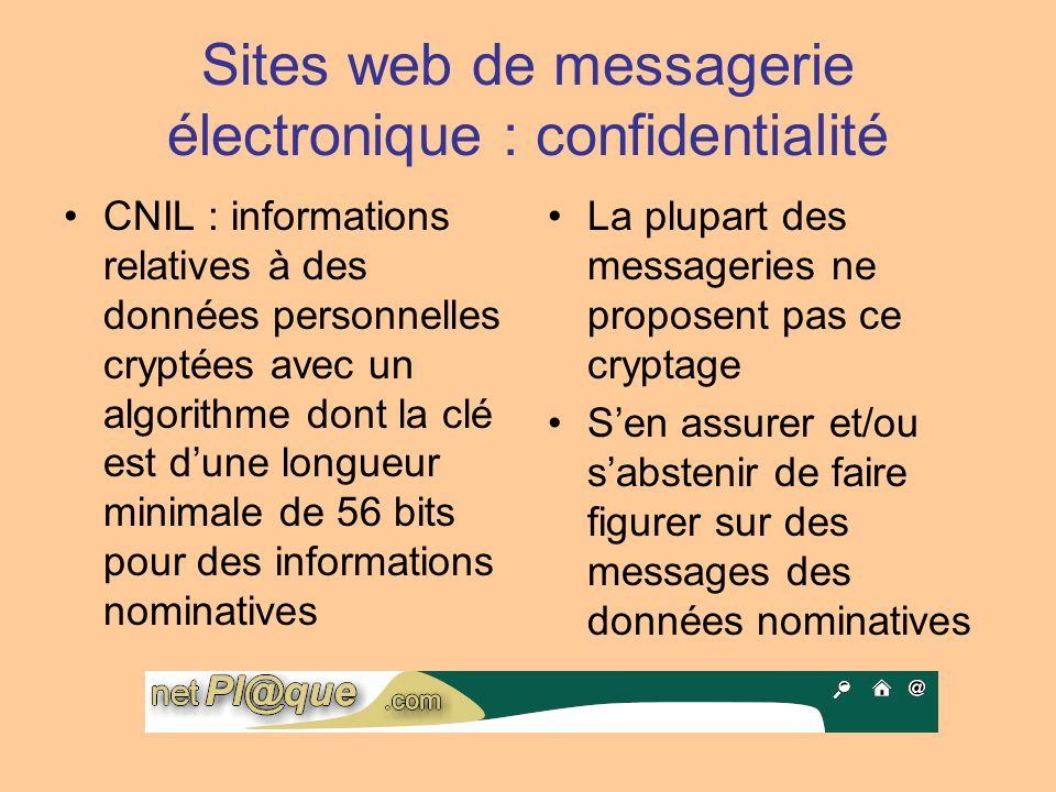 Sites web de messagerie électronique : confidentialité CNIL : informations relatives à des données personnelles cryptées avec un algorithme dont la cl