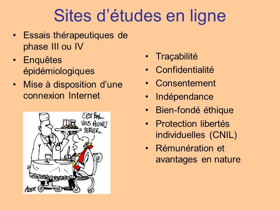Sites détudes en ligne Essais thérapeutiques de phase III ou IV Enquêtes épidémiologiques Mise à disposition dune connexion Internet Traçabilité Confi