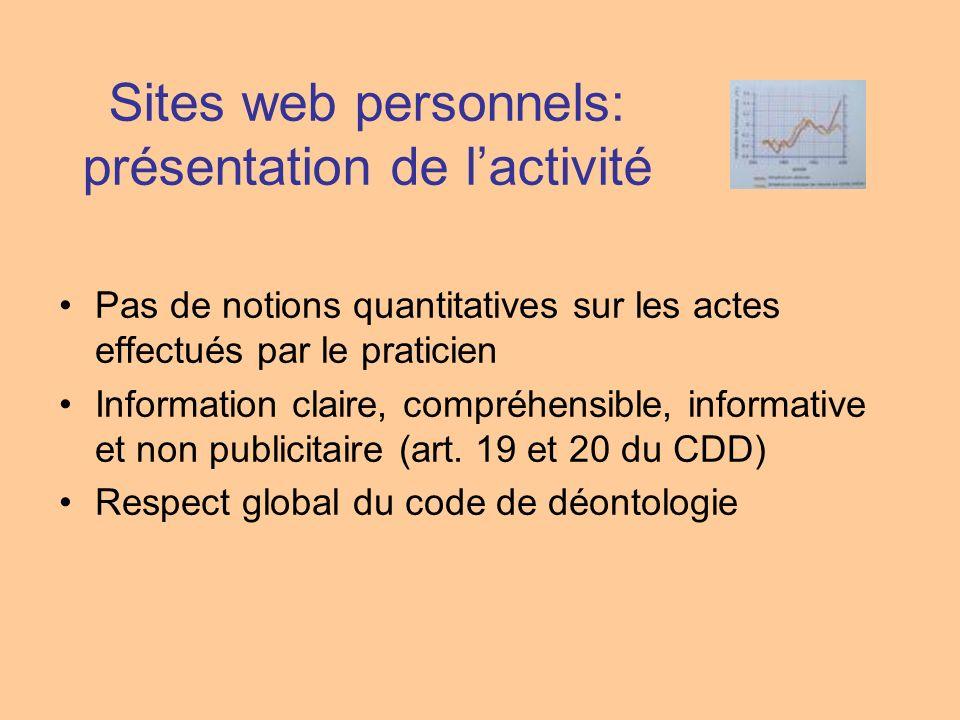 Sites web personnels: présentation de lactivité Pas de notions quantitatives sur les actes effectués par le praticien Information claire, compréhensib