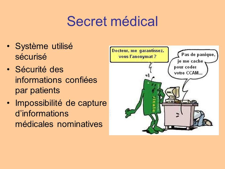 Secret médical Système utilisé sécurisé Sécurité des informations confiées par patients Impossibilité de capture dinformations médicales nominatives