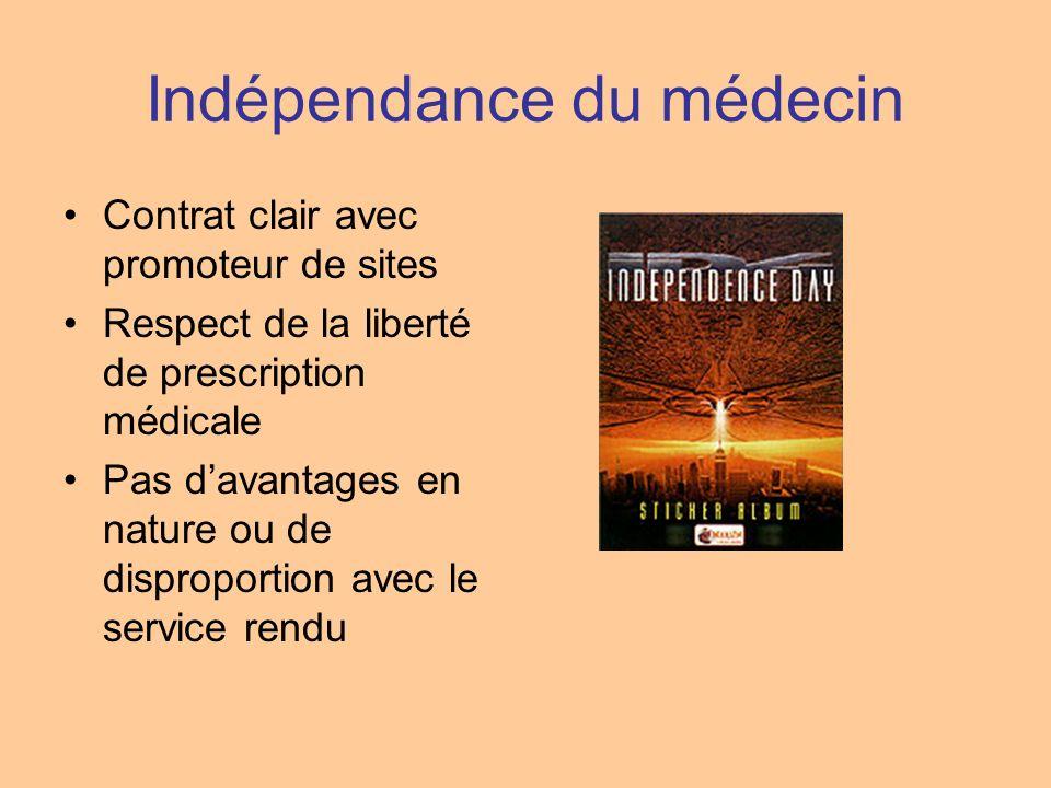 Indépendance du médecin Contrat clair avec promoteur de sites Respect de la liberté de prescription médicale Pas davantages en nature ou de disproport