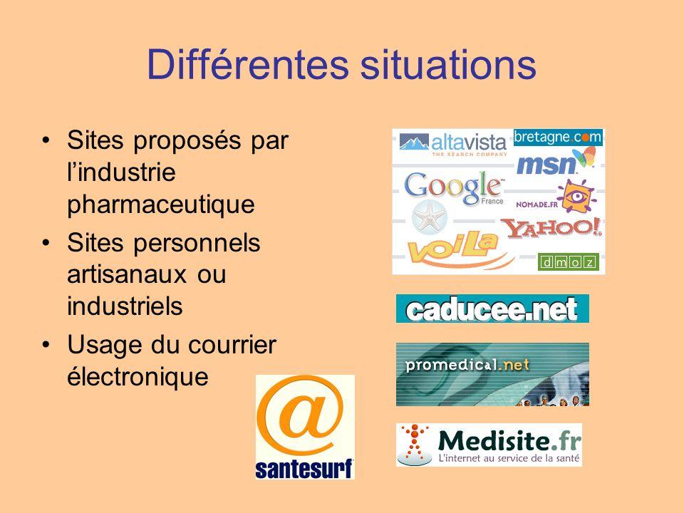 Différentes situations Sites proposés par lindustrie pharmaceutique Sites personnels artisanaux ou industriels Usage du courrier électronique