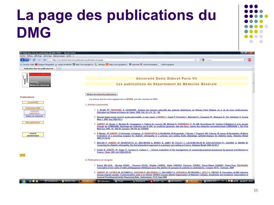 La page des publications du DMG 11