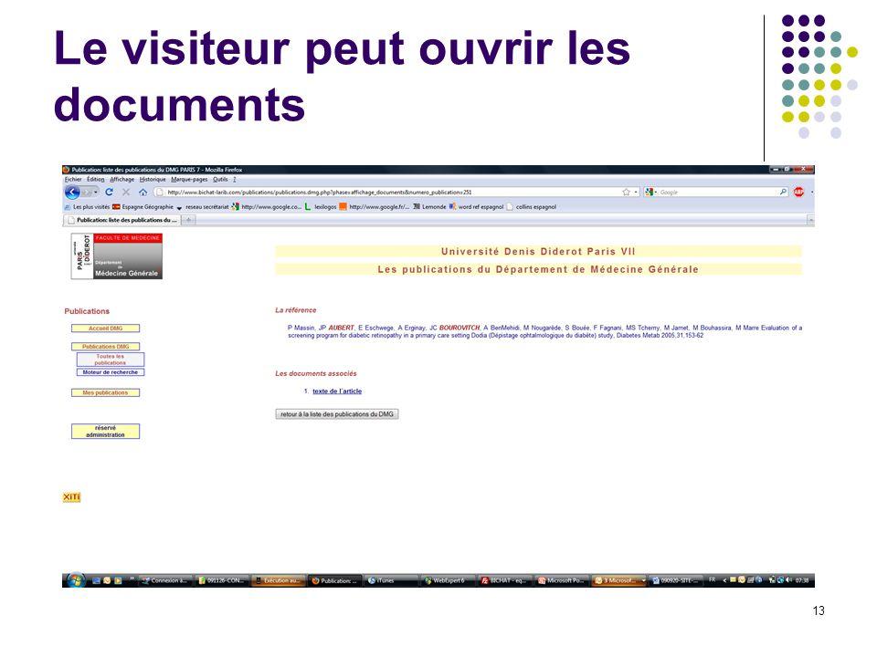 Le visiteur peut ouvrir les documents 13