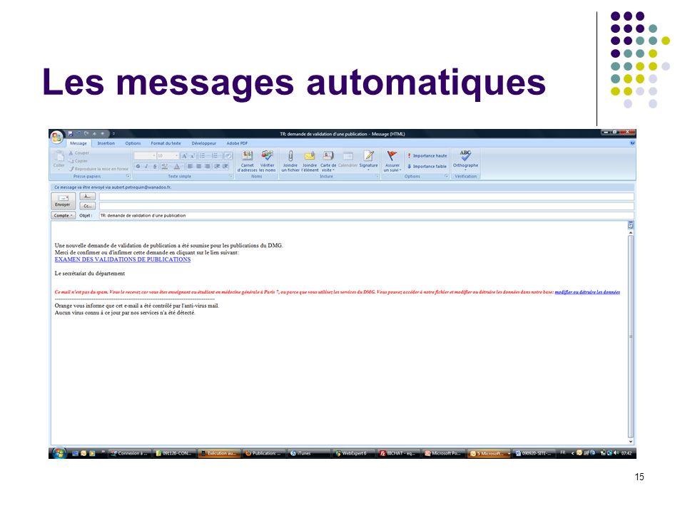 Les messages automatiques 15