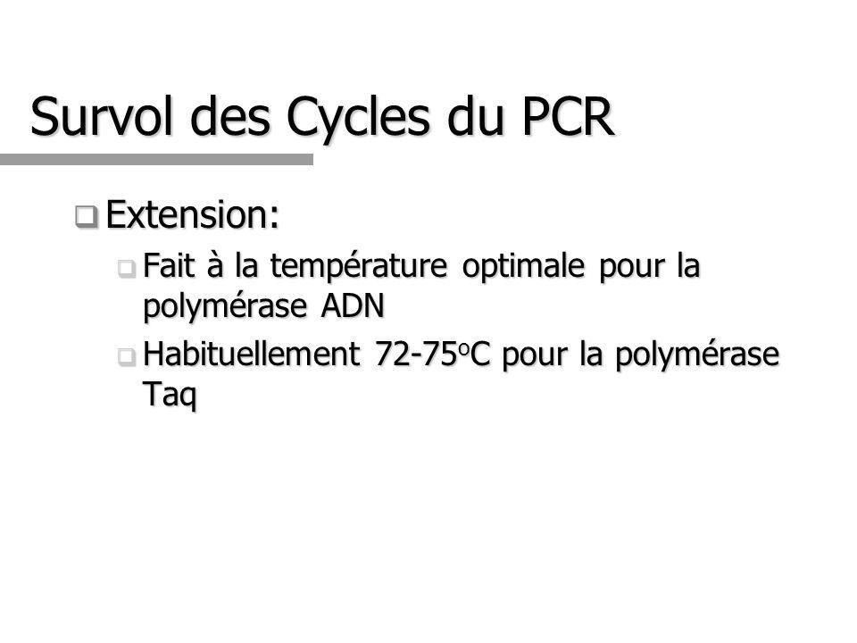 Survol des Cycles du PCR Extension: Extension: Fait à la température optimale pour la polymérase ADN Fait à la température optimale pour la polymérase ADN Habituellement 72-75 o C pour la polymérase Taq Habituellement 72-75 o C pour la polymérase Taq