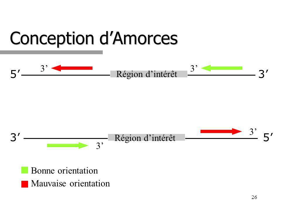 26 Conception dAmorces 5 53 3 Région dintérêt 3 3 3 3 Bonne orientation Mauvaise orientation
