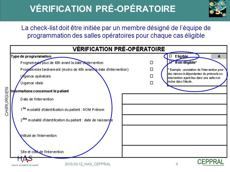 42010-03-12_HAS_CEPPRAL VÉRIFICATION PRÉ-OPÉRATOIRE La check-list doit être initiée par un membre désigné de léquipe de programmation des salles opéra