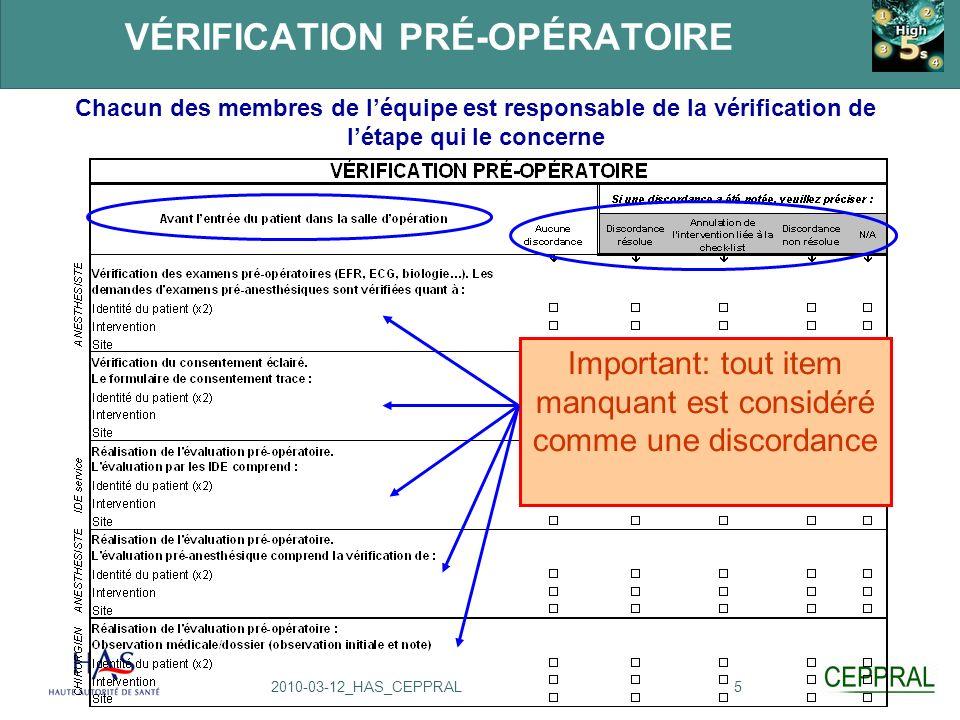 52010-03-12_HAS_CEPPRAL VÉRIFICATION PRÉ-OPÉRATOIRE Chacun des membres de léquipe est responsable de la vérification de létape qui le concerne Importa