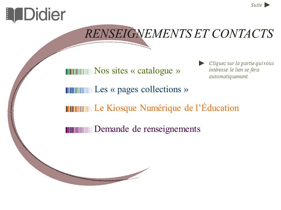 Suite Nos sites « catalogue » Les « pages collections » Le Kiosque Numérique de lÉducation RENSEIGNEMENTS ET CONTACTS Cliquez sur la partie qui vous i