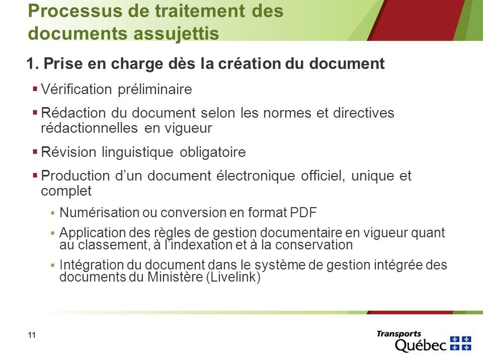 11 Processus de traitement des documents assujettis 1. Prise en charge dès la création du document Vérification préliminaire Rédaction du document sel