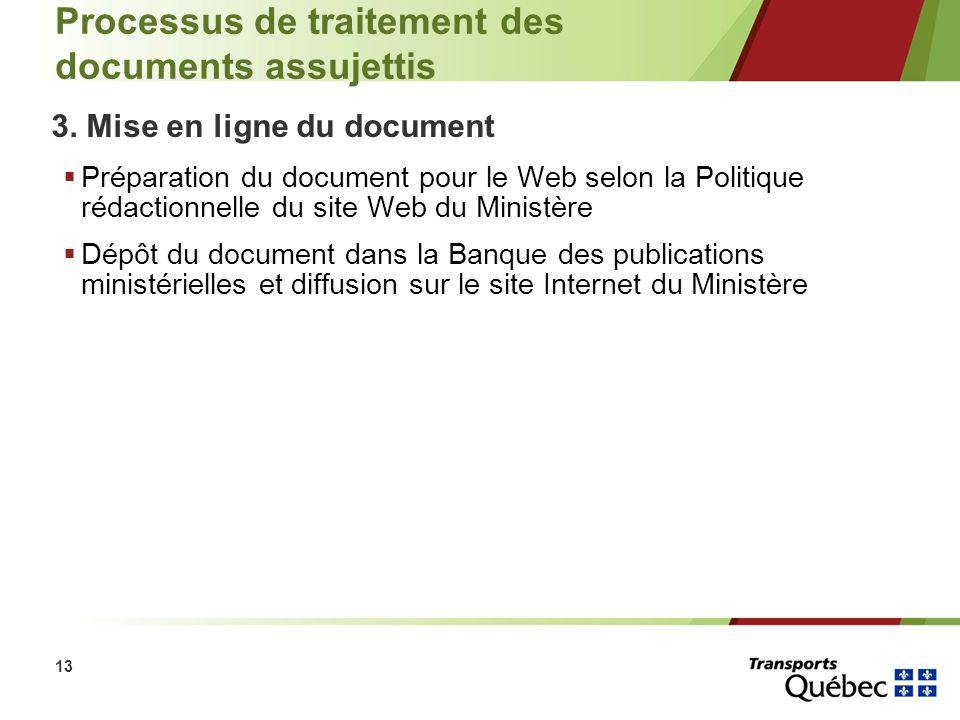 13 Processus de traitement des documents assujettis 3. Mise en ligne du document Préparation du document pour le Web selon la Politique rédactionnelle