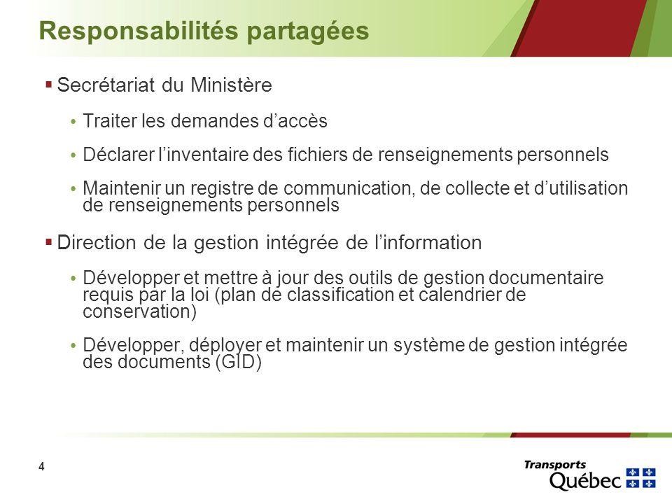 4 Responsabilités partagées Secrétariat du Ministère Traiter les demandes daccès Déclarer linventaire des fichiers de renseignements personnels Mainte