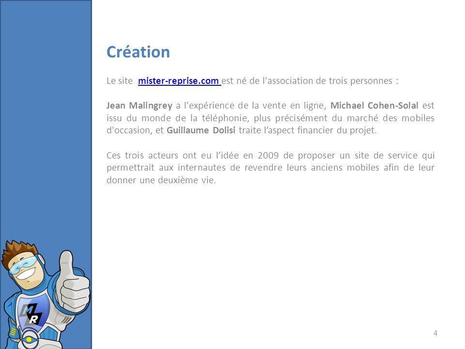Création Le site mister-reprise.com est né de l association de trois personnes :mister-reprise.com Jean Malingrey a l expérience de la vente en ligne, Michael Cohen-Solal est issu du monde de la téléphonie, plus précisément du marché des mobiles d occasion, et Guillaume Dolisi traite laspect financier du projet.