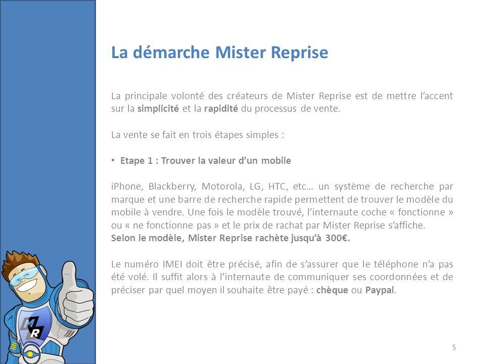 La démarche Mister Reprise La principale volonté des créateurs de Mister Reprise est de mettre laccent sur la simplicité et la rapidité du processus de vente.