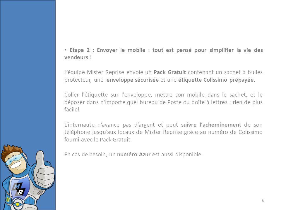 Etape 3 : Recevoir le paiement : Une fois le téléphone reçu chez Mister Reprise, une équipe technique vérifie que son état est bien celui annoncé par le vendeur.