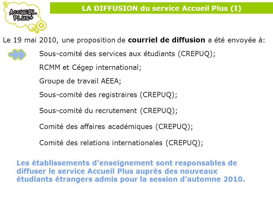 LA DIFFUSION du service Accueil Plus (I) Le 19 mai 2010, une proposition de courriel de diffusion a été envoyée à: Sous-comité des services aux étudia