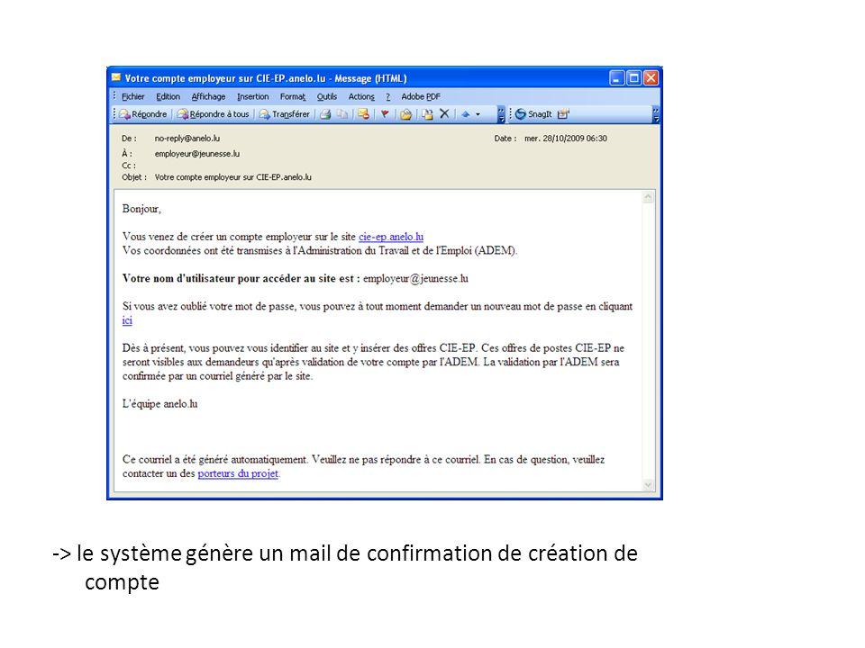 -> le système génère un mail de confirmation de création de compte