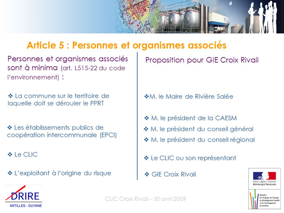 CLIC Croix Rivail – 30 avril 2009 Article 5 : Personnes et organismes associés Personnes et organismes associés sont à minima (art.