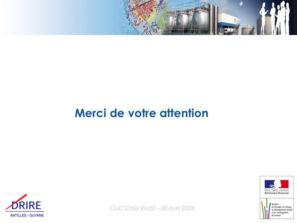 CLIC Croix Rivail – 30 avril 2009 Merci de votre attention