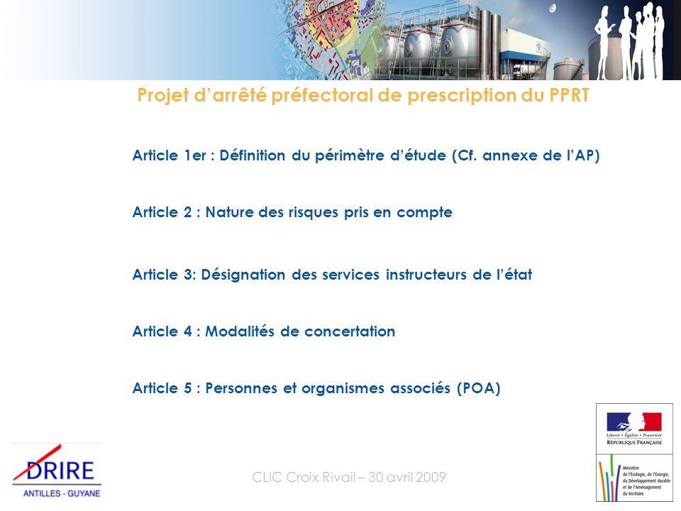 CLIC Croix Rivail – 30 avril 2009 Article 1er : Définition du périmètre détude (Cf.