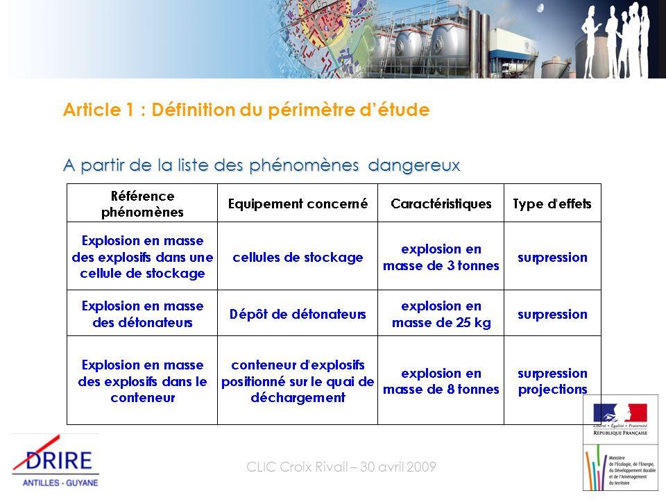 CLIC Croix Rivail – 30 avril 2009 Article 1 : Définition du périmètre détude A partir de la liste des phénomènes dangereux