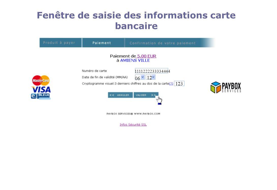 06 12 123 1111222233334444 Fenêtre de saisie des informations carte bancaire
