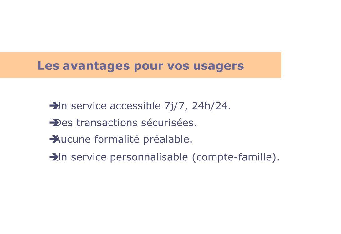 Un service accessible 7j/7, 24h/24. Des transactions sécurisées. Aucune formalité préalable. Un service personnalisable (compte-famille). Les avantage