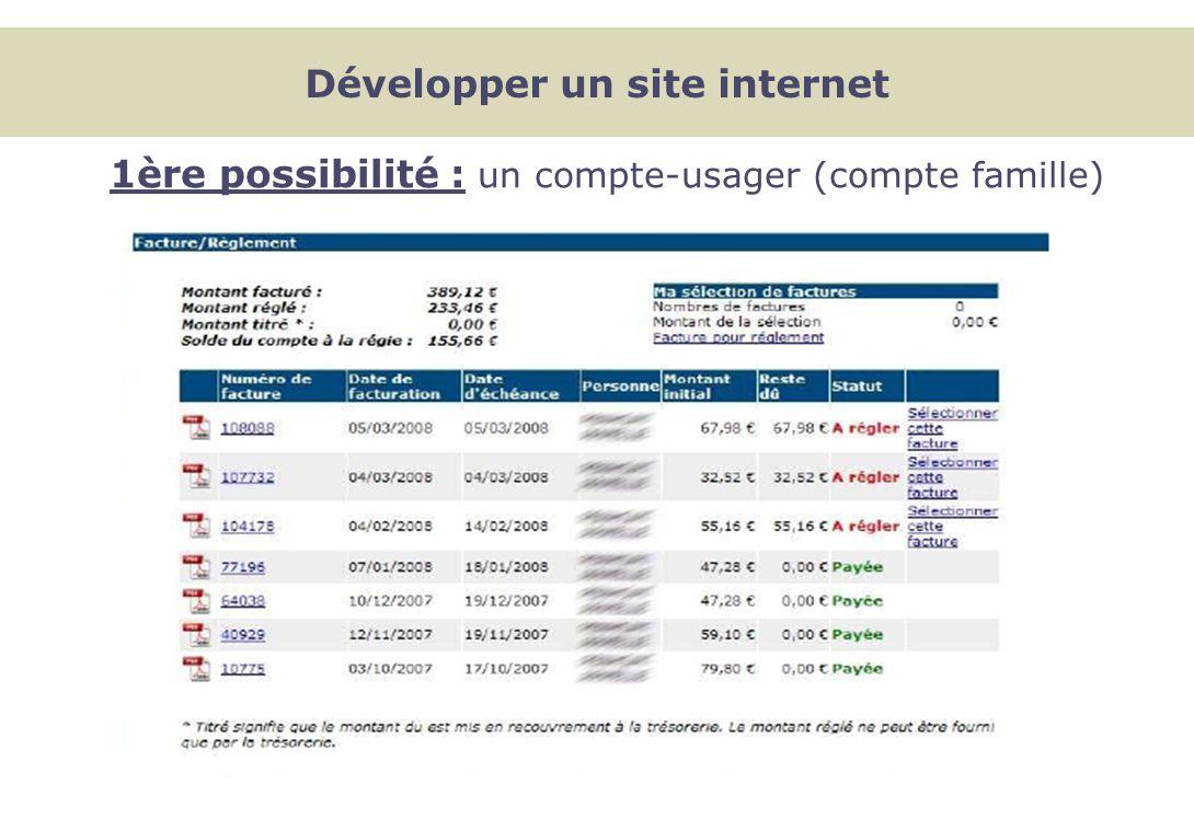 1ère possibilité : un compte-usager (compte famille) Développer un site internet