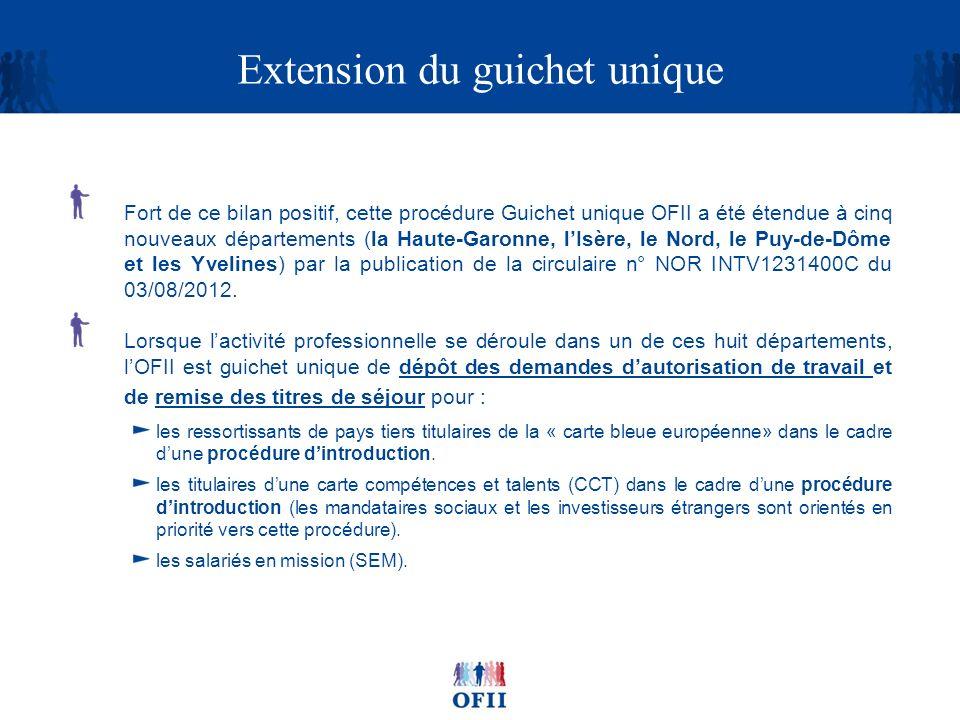 Extension du guichet unique Fort de ce bilan positif, cette procédure Guichet unique OFII a été étendue à cinq nouveaux départements (la Haute-Garonne