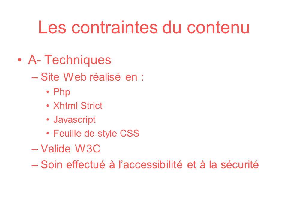 Les contraintes du contenu A- Techniques –Site Web réalisé en : Php Xhtml Strict Javascript Feuille de style CSS –Valide W3C –Soin effectué à laccessi
