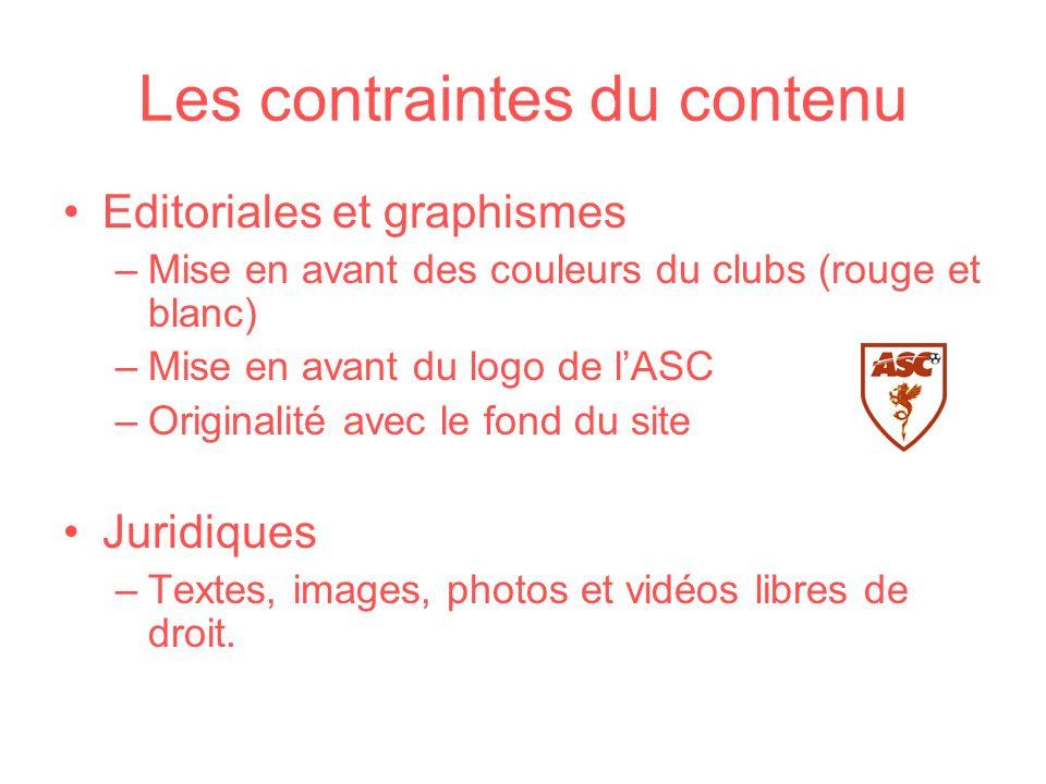 Les contraintes du contenu Editoriales et graphismes –Mise en avant des couleurs du clubs (rouge et blanc) –Mise en avant du logo de lASC –Originalité