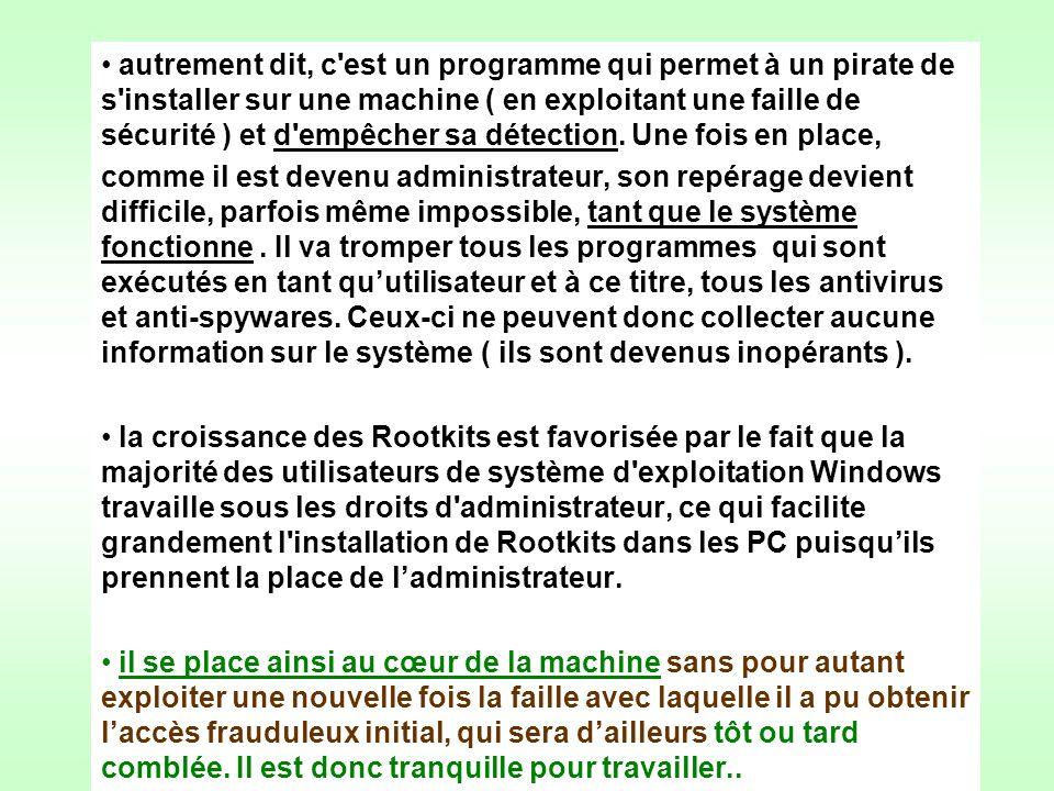 autrement dit, c est un programme qui permet à un pirate de s installer sur une machine ( en exploitant une faille de sécurité ) et d empêcher sa détection.