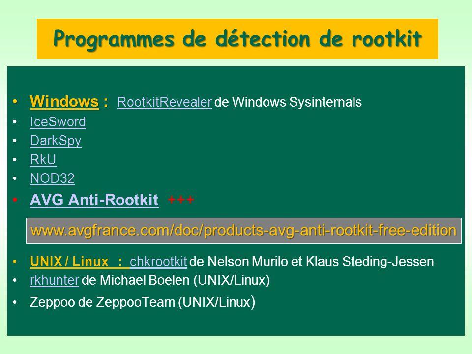 Programmes de détection de rootkit Windows :Windows : RootkitRevealer de Windows Sysinternals RootkitRevealer IceSword DarkSpy RkU NOD32 AVG Anti-Rootkit +++AVG Anti-Rootkit UNIX / Linux : chkrootkit de Nelson Murilo et Klaus Steding-Jessenchkrootkit rkhunter de Michael Boelen (UNIX/Linux)rkhunter Zeppoo de ZeppooTeam (UNIX/Linux ) www.avgfrance.com/doc/products-avg-anti-rootkit-free-edition