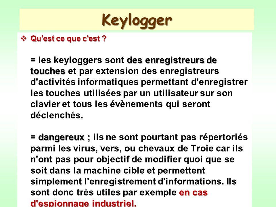 Keylogger Qu'est ce que c'est ? des enregistreurs de touches dangereux ; en cas d'espionnage industriel. Qu'est ce que c'est ? = les keyloggers sont d
