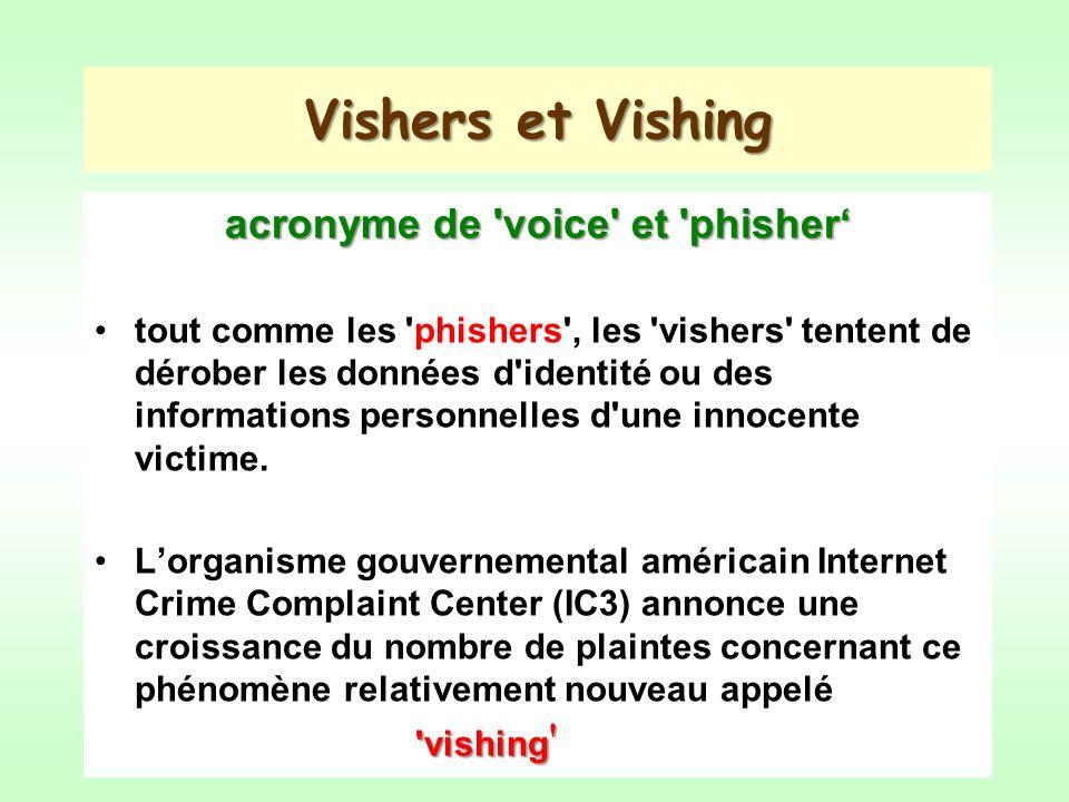 Vishers et Vishing acronyme de voice et phisher tout comme les phishers , les vishers tentent de dérober les données d identité ou des informations personnelles d une innocente victime.