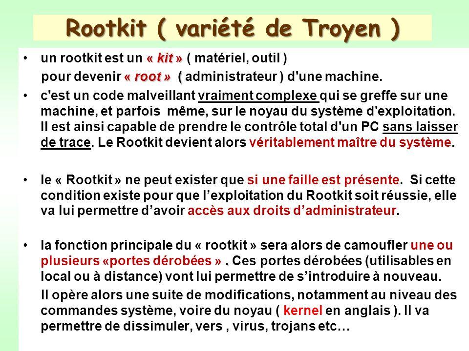 Rootkit ( variété de Troyen ) « kit »un rootkit est un « kit » ( matériel, outil ) « root » ( pour devenir « root » ( administrateur ) d une machine.