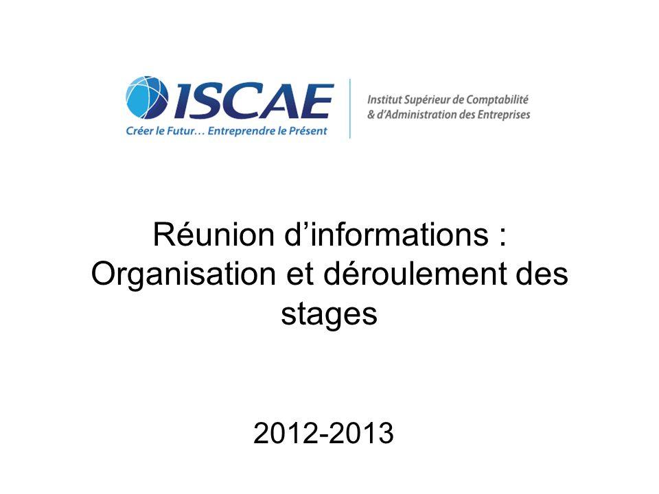 Réunion dinformations : Organisation et déroulement des stages 2012-2013