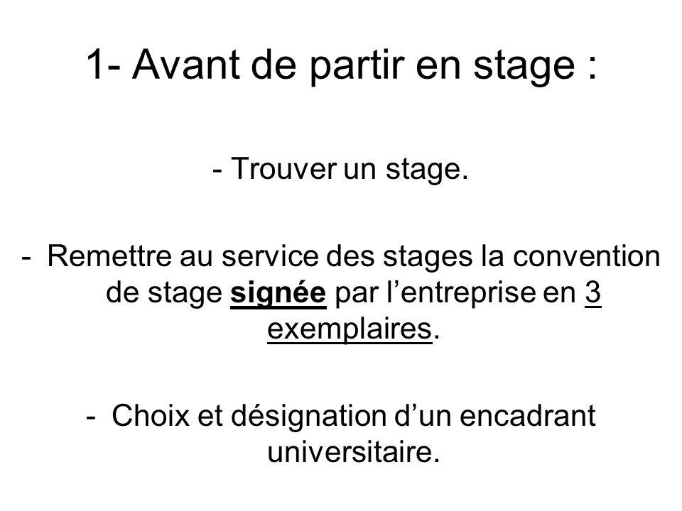 1- Avant de partir en stage : - Trouver un stage. -Remettre au service des stages la convention de stage signée par lentreprise en 3 exemplaires. -Cho