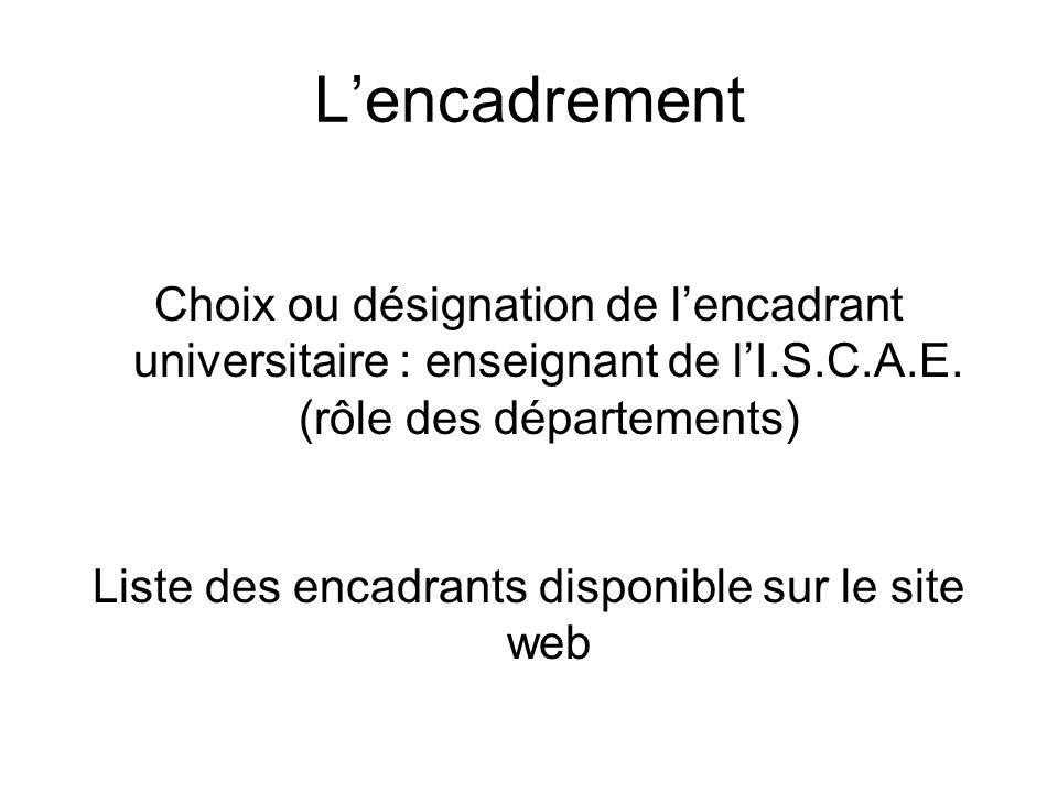 Lencadrement Choix ou désignation de lencadrant universitaire : enseignant de lI.S.C.A.E. (rôle des départements) Liste des encadrants disponible sur