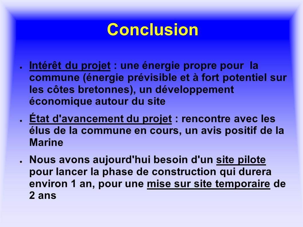 Conclusion Intérêt du projet : une énergie propre pour la commune (énergie prévisible et à fort potentiel sur les côtes bretonnes), un développement é