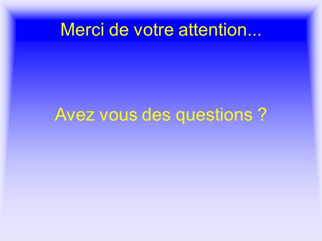 Merci de votre attention... Avez vous des questions ?