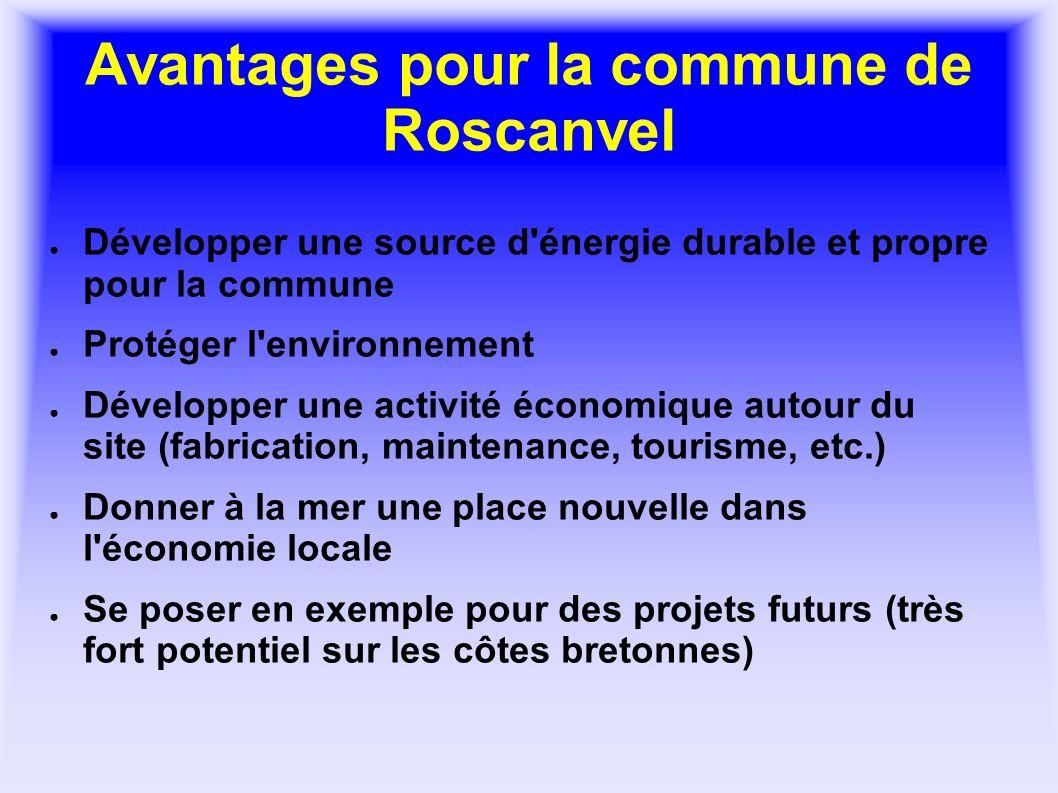 Avantages pour la commune de Roscanvel Développer une source d'énergie durable et propre pour la commune Protéger l'environnement Développer une activ