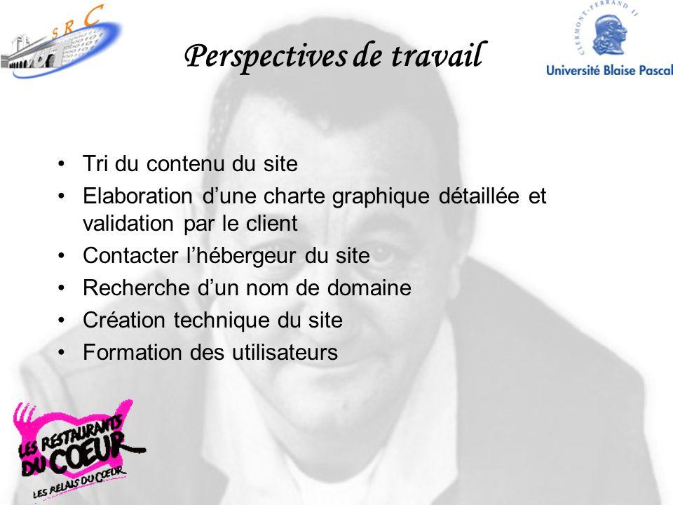 Perspectives de travail Tri du contenu du site Elaboration dune charte graphique détaillée et validation par le client Contacter lhébergeur du site Re