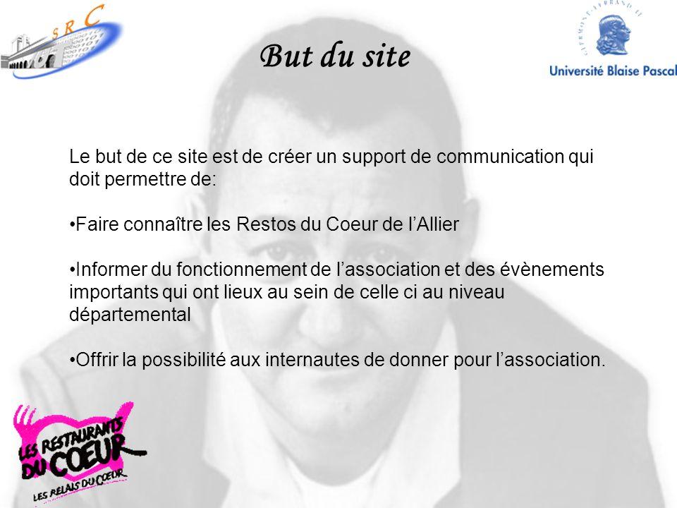 But du site Le but de ce site est de créer un support de communication qui doit permettre de: Faire connaître les Restos du Coeur de lAllier Informer