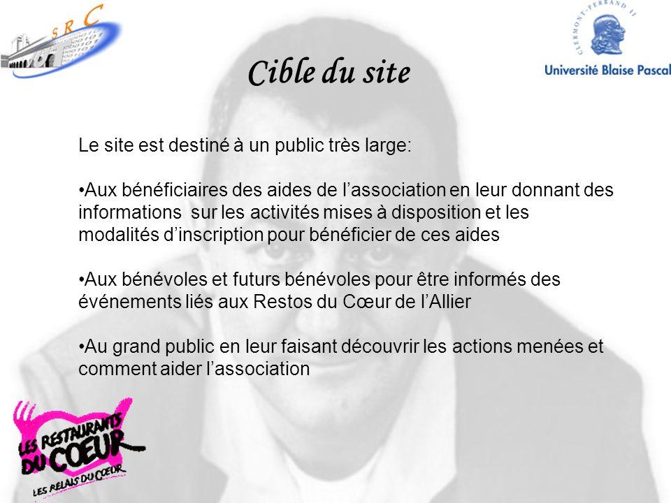 Cible du site Le site est destiné à un public très large: Aux bénéficiaires des aides de lassociation en leur donnant des informations sur les activit