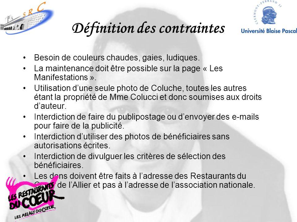 Définition des contraintes Besoin de couleurs chaudes, gaies, ludiques. La maintenance doit être possible sur la page « Les Manifestations ». Utilisat