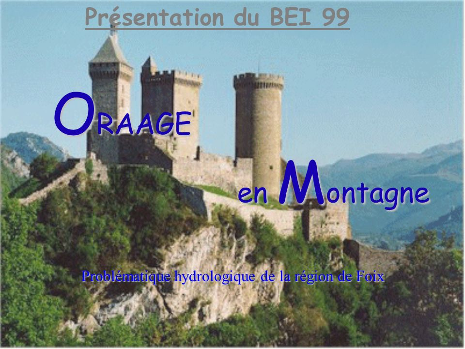 ORRAGE en MontagneConclusion (2) Ce que le BEI nous a apporté : application de certaines connaissances Remerciements utilisation de nouveaux logiciels (ORAAGE, SIC) travail en binômes et en groupe développement des relations extérieures (DDE, DIREN, Ville de Foix,…)
