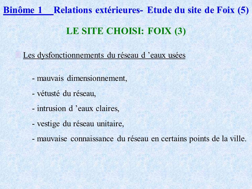 Binôme 1Relations extérieures- Etude du site de Foix (4) LE SITE CHOISI - FOIX (2) Son réseau d assainissement - Premier réseau : tout à l égout depui