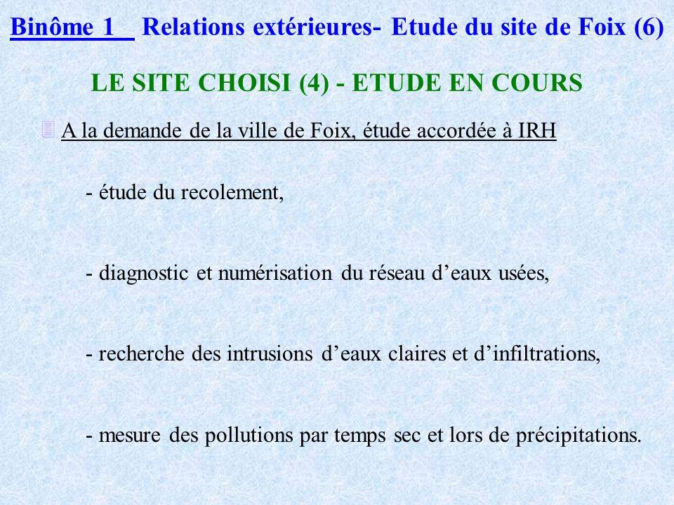 Binôme 1Relations extérieures- Etude du site de Foix (5) LE SITE CHOISI: FOIX (3) Les dysfonctionnements du réseau d eaux usées - mauvais dimensionnem